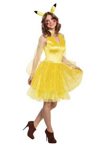 Click Here to buy Nintendo Pokemon Womens Pikachu Deluxe Costume from HalloweenCostumes, CDN Funds & Shipping
