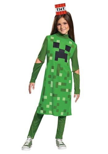 Click Here to buy Girls Minecraft Creeper Classic Costume from HalloweenCostumes, CDN Funds & Shipping