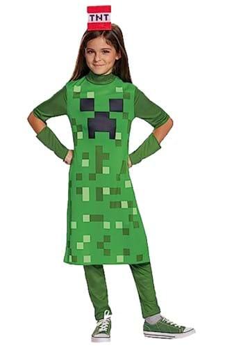 Girls Minecraft Creeper Classic Costume