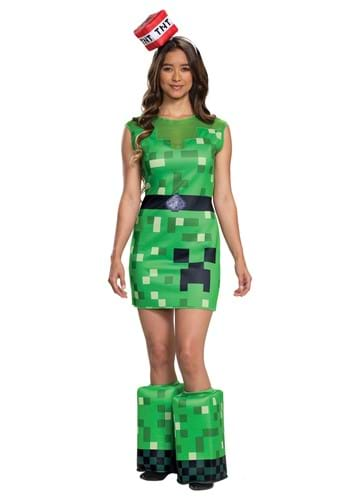 Click Here to buy Womens Minecraft  Creeper Costume from HalloweenCostumes, CDN Funds & Shipping