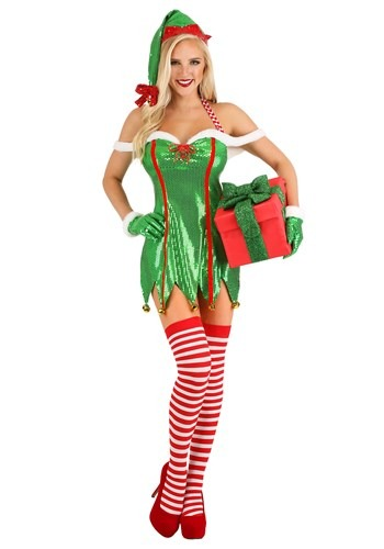 Women's Sexy Green Glitter Elf Costume