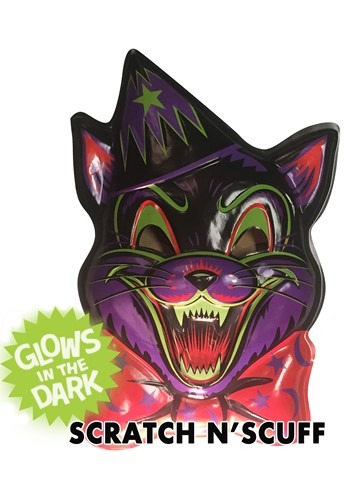 "Crazy Halloween Cat Vacuform Mask 23"" Wall Hangin"