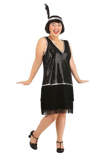 Plus Size Onyx Flapper Costume for Women