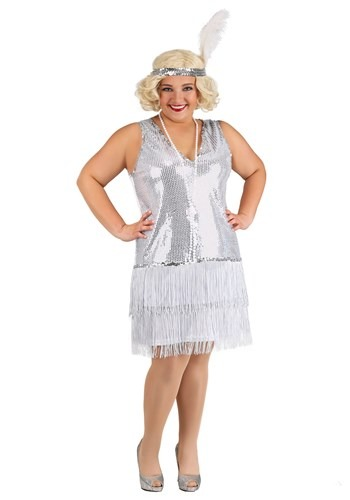Plus Size Crystal Flapper Costume for Women