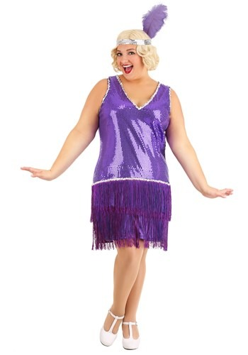 Plus Size Amethyst Purple Flapper Costume for Women