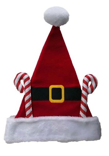 Click Here to buy Fleece Santa Hat with Candy Canes from HalloweenCostumes, CDN Funds & Shipping