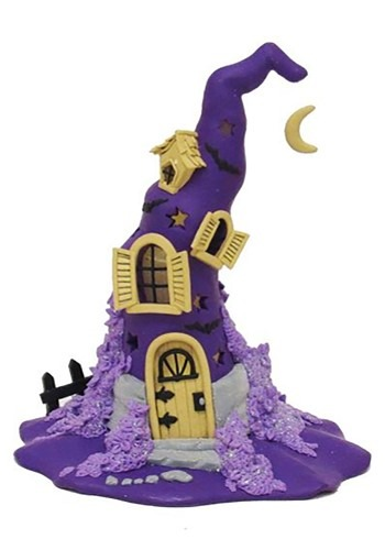Purple LED Halloween Witch Hat Claydough Tablepiece