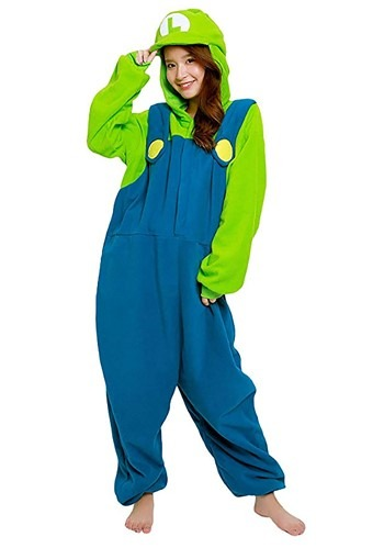 Super Mario Brothers Luigi Kigurumi Costume for Adults
