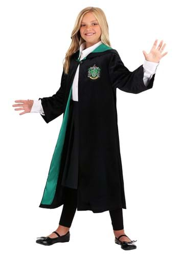 Click Here to buy Kids Harry Potter Deluxe Slytherin Robe from HalloweenCostumes, CDN Funds & Shipping