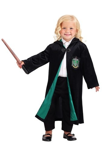 Click Here to buy Harry Potter Kids Deluxe Slytherin Robe from HalloweenCostumes, CDN Funds & Shipping
