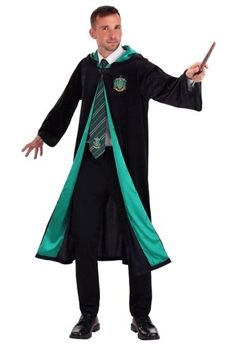 Click Here to buy Adult Harry Potter Deluxe Slytherin Robe from HalloweenCostumes, CDN Funds & Shipping