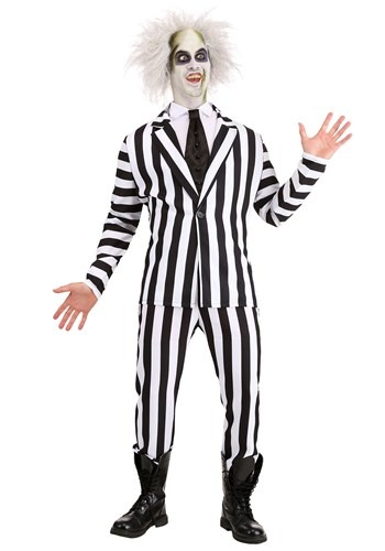 Click Here to buy Beetlejuice Plus Size Costume for Adults from HalloweenCostumes, CDN Funds & Shipping