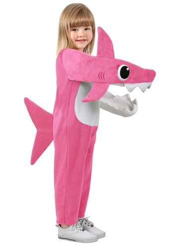 Click Here to buy Mommy Shark (Pink) Deluxe Kids Costume from HalloweenCostumes, CDN Funds & Shipping