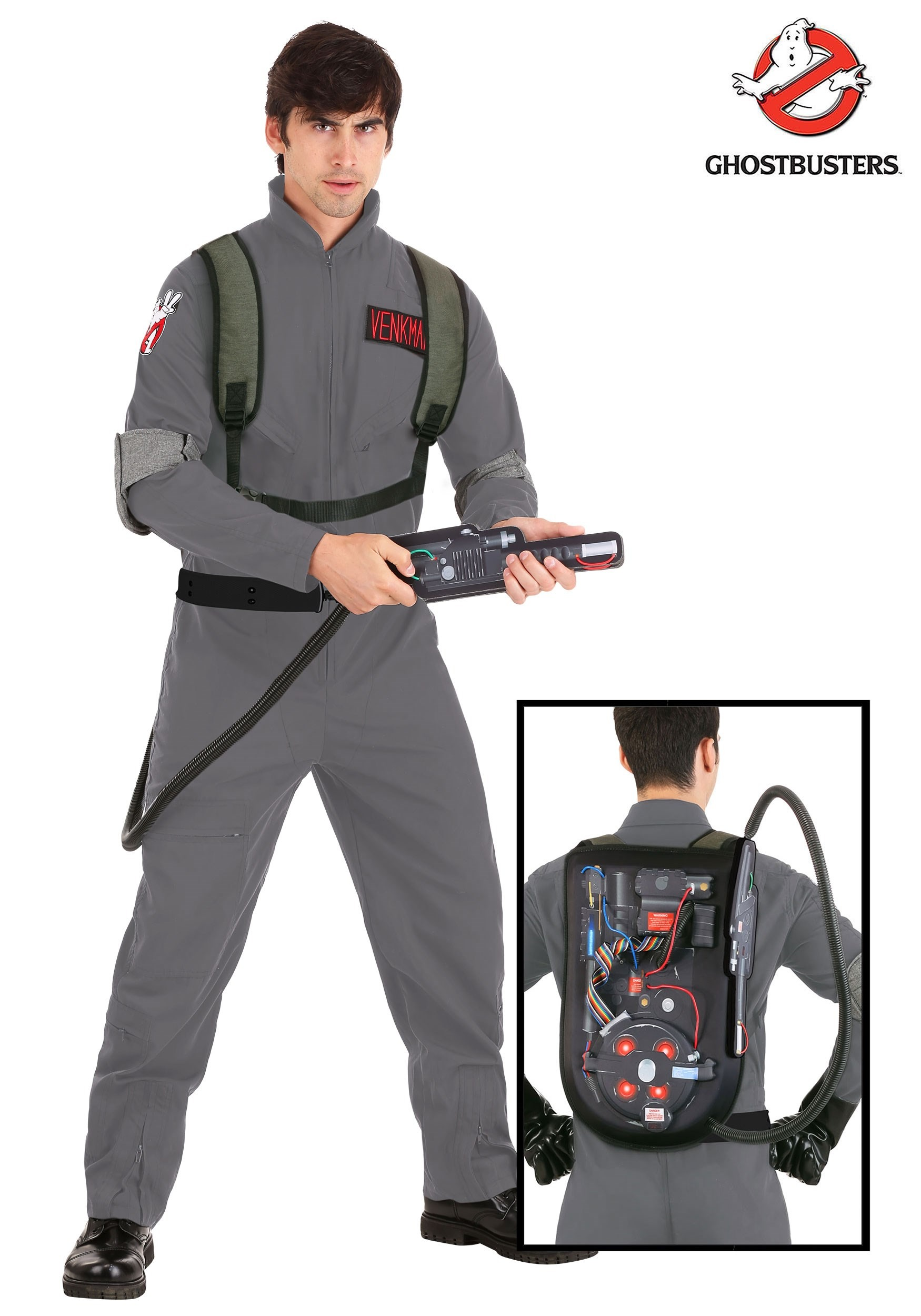 Ghostbusters Hunter Licensed Adult Plus Mens Jumpsuit And Backpack Costume