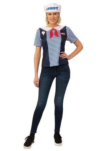 Click Here to buy Stranger Things Robin Scoops Ahoy Womens Costume from HalloweenCostumes, CDN Funds & Shipping