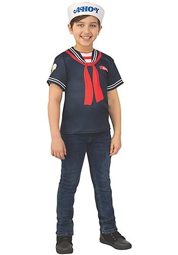 Click Here to buy Steves Scoops Ahoy Uniform Kids Costume Stranger Things from HalloweenCostumes, CDN Funds & Shipping