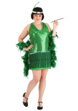 Womens Plus Size Emerald Flapper Costume