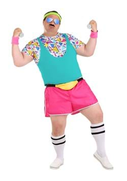 Men's Plus Size Work It Out 80's Costume Main