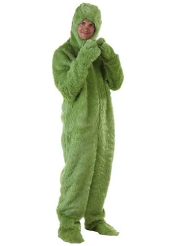 Adult Plus Size Green Furry Jumpsuit