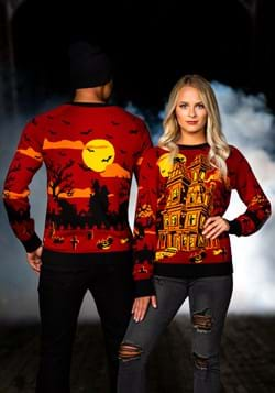 Adult Haunted House Halloween Sweater 1