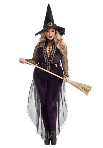 Womens Plus Size Midnight Violet Witch Costume