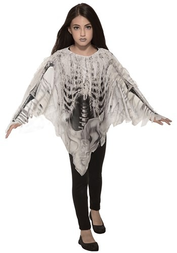 Tattered Skeleton Girls Poncho Costume