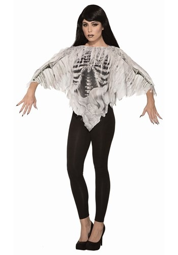 Tattered Skeleton Womens Poncho Costume