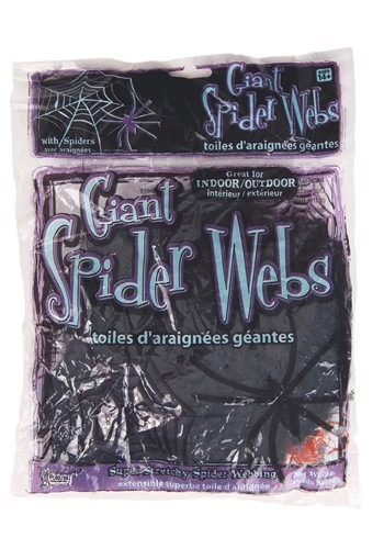 60g Large Black Spider Web w/Spiders Decoration
