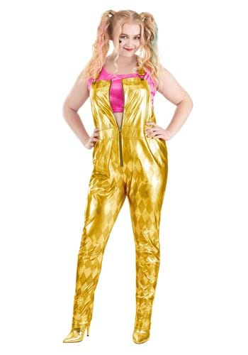 Womens Plus Size Harley Quinn Gold Overalls Costume