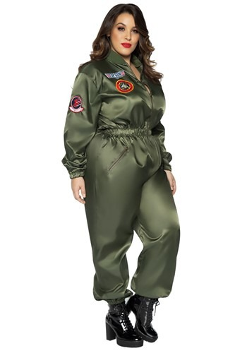 Click Here to buy Top Gun Womens Plus Size Flight Suit Costume from HalloweenCostumes, CDN Funds & Shipping