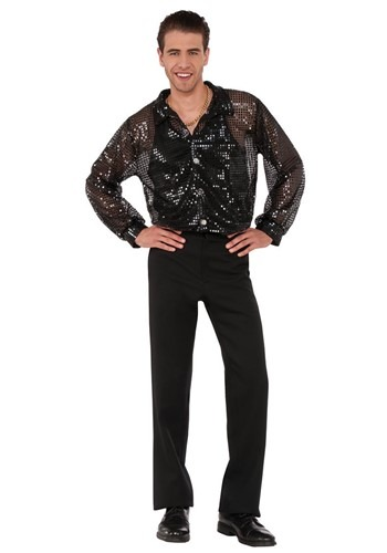 Black Sequin Disco Mens  Shirt