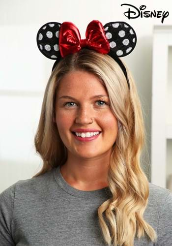Sequined Minnie Mouse Polka Dot Ears Headband