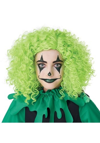 Green Corkscrew Clown Curls Wig