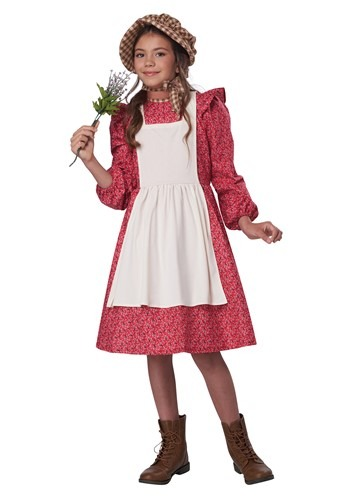 Red Frontier Settler Girls Costume
