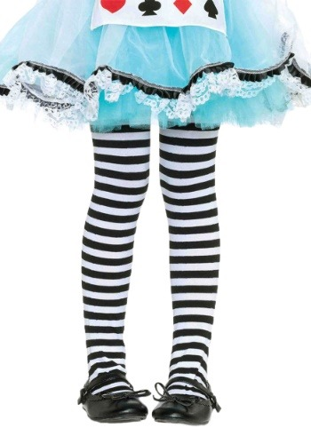 Click Here to buy Kids Black and White Striped Tights from HalloweenCostumes, CDN Funds & Shipping