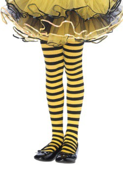 Kids Black and Yellow Striped Tights
