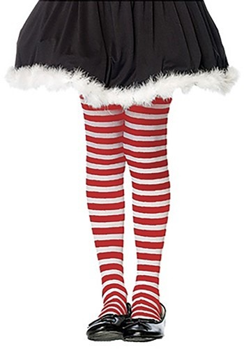 Click Here to buy Kids Red and White Striped Tights from HalloweenCostumes, CDN Funds & Shipping