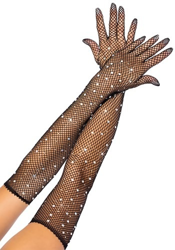 Click Here to buy Black Rhinestone Fishnet Opera Gloves from HalloweenCostumes, CDN Funds & Shipping