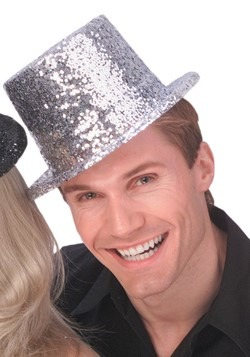 Adult Silver Glitter Top Hat