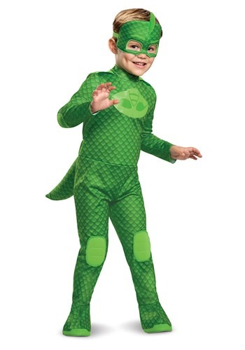 Click Here to buy PJ Masks Kids Gekko Deluxe Light Up Costume from HalloweenCostumes, CDN Funds & Shipping