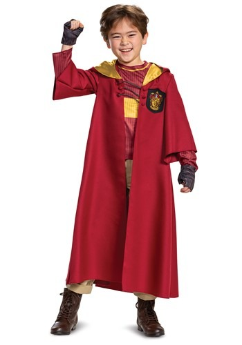 Click Here to buy Harry Potter Deluxe Kids Gryffindor Quidditch Robe Costume from HalloweenCostumes, CDN Funds & Shipping