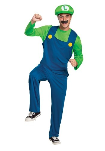 Click Here to buy Super Mario Classic Adult Luigi Costume from HalloweenCostumes, CDN Funds & Shipping