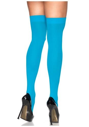 Neon Blue Thigh High Stockings