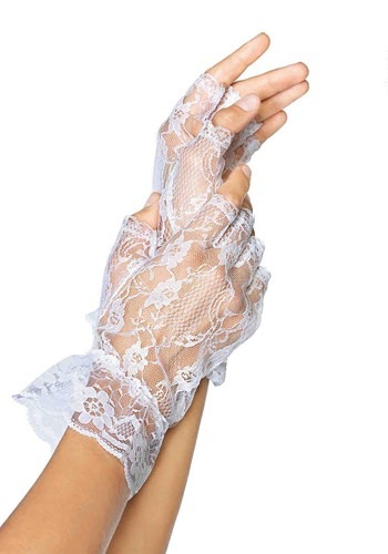White Lace Womens Fingerless Gloves