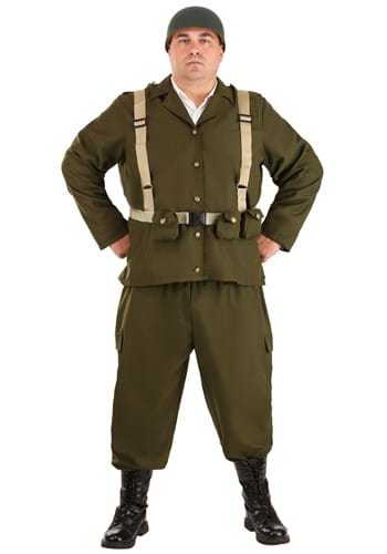 Click Here to buy Deluxe Plus Size WW2 Soldier Costume from HalloweenCostumes, CDN Funds & Shipping