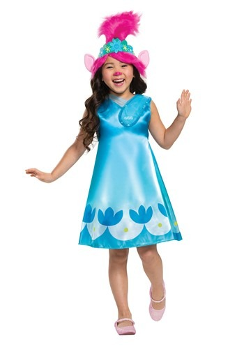 Click Here to buy Trolls World Tour Girls Classic Poppy Costume from HalloweenCostumes, CDN Funds & Shipping