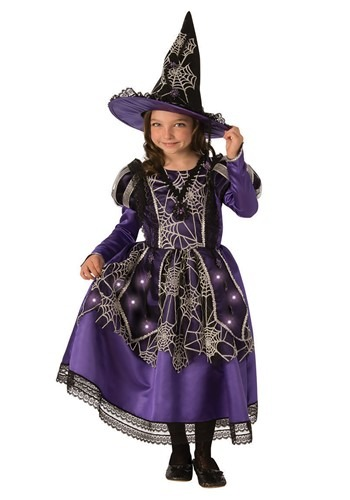 Click Here to buy Girls Victorian Light Up Spider Witch Costume from HalloweenCostumes, CDN Funds & Shipping