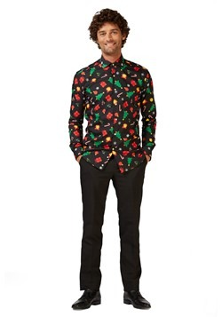Adult Christmas Icons Button up Shirt