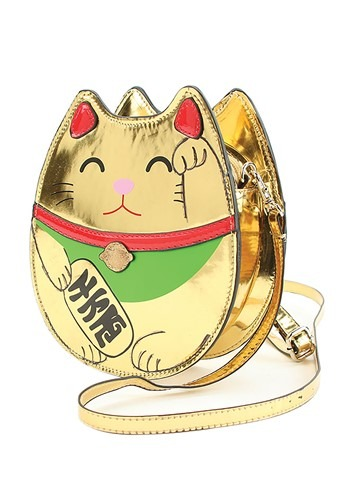 Gold Lucky Cat Handbag Accessory