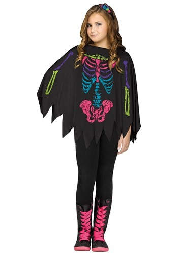 Rainbow Skeleton Girls Poncho